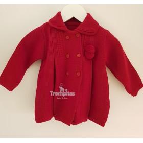 Abrigo Punto Pompones Rojo