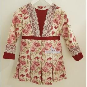 Vestido Plisado Flores Granate