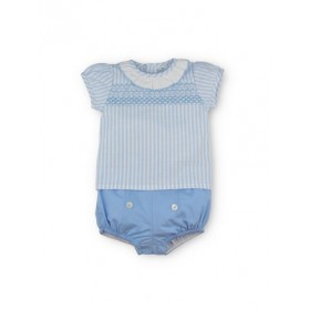 Camisa Smock y Bombacho Azul
