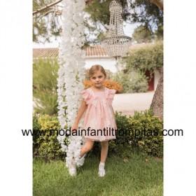 Vestido Tul Flores Rosa