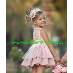 Vestido Plumeti Rosa Encaje...
