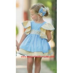Vestido Vuelo Volantes Azul...