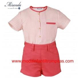 Camisa Rayas y Short Rojo