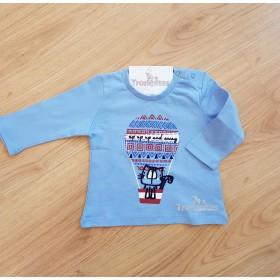 Camiseta Gato en Globo Azul