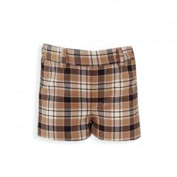 Pantalon Corto Cuadros Marron