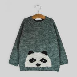 Jersey Jacquard Oso Panda Gris