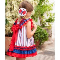 Vestido Rayas Debesos Rojo...